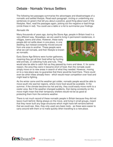 Nomadic Versus Settler Worksheet - The Neolithic History KS2