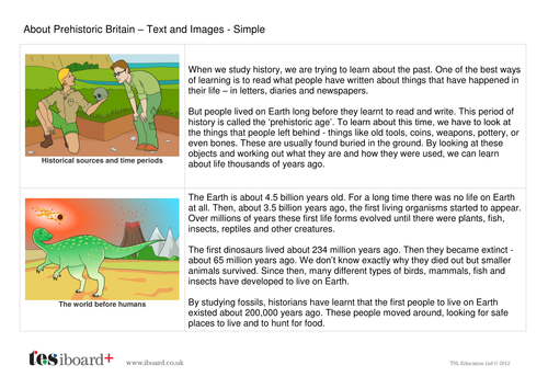 Prehistoric Britain Information Text and Images - Reading Level B - KS2