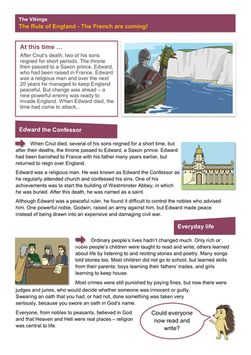 The French - Worksheet - The Vikings KS2