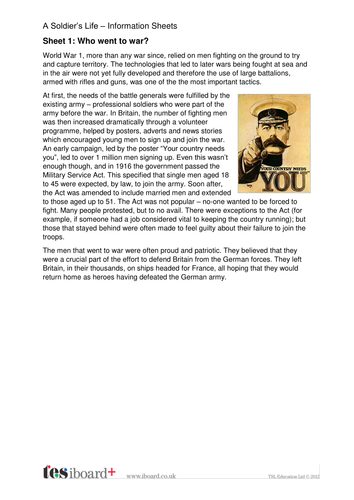 A Soldier's Life Information Sheets - The World Wars KS2