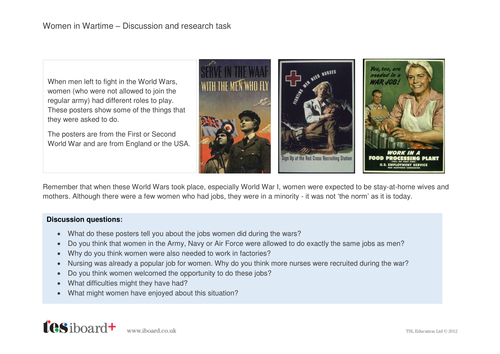 Women in the World Wars Discussion and Research Activity - KS2