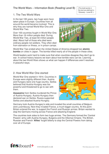 The World Wars Information Text and Images - Reading Level B - KS2