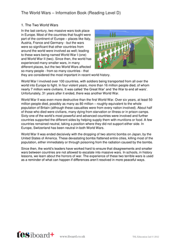 The World Wars Information Text and Images - Reading Level D - KS2