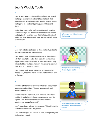 Leon's Wobbly Tooth Storybook - Independent Reader Level - PSHE KS1