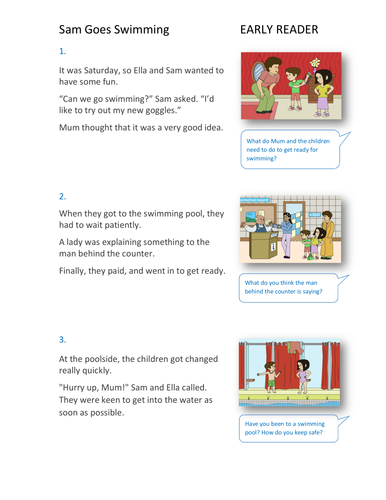 Sam Goes Swimming Storybook - Early Reader Level - PSHE KS1