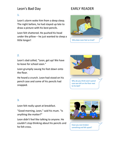 Leon's Bad Day Storybook - Early Reader Level - PSHE KS1