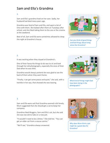 Sam and Ella's Grandma Storybook - Independent Reader Level - PSHE KS1