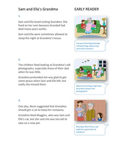 Sam and Ella's Grandma Storybook - Early Reader Level - PSHE KS1