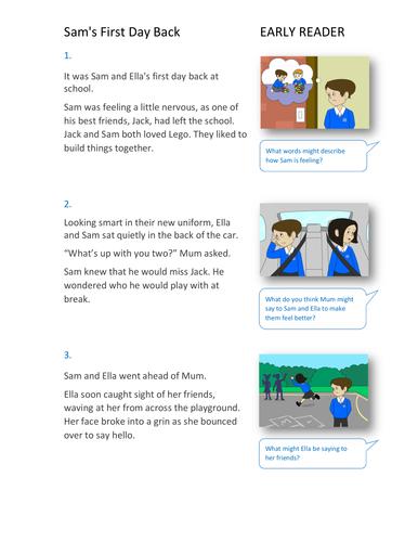 Sam's First Day Back Storybook - Early Reader Level - PSHE KS1