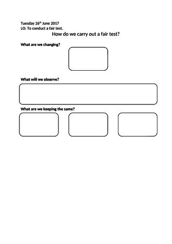 Fair Test Differentiated Worksheets