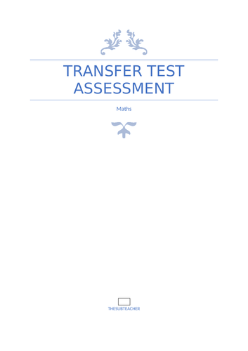 Northern Ireland Transfer Test initial assessment booklet