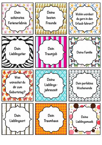 24 Sprech- und Schreibanlässe Deutsch, Karten, Hausaufgabe, German speaking and writing prompts