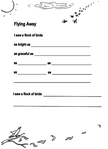 Flying Away - bird migration poetry sheet + guide