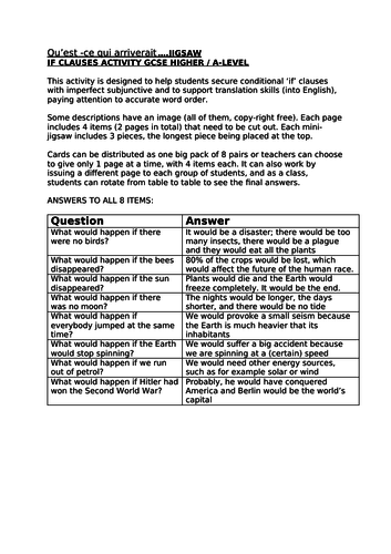 IF CLAUSES IMPERFECT SUBJUNCTIVE TRANSLATION JIGSAW ~ FRENCH GCSE HIGHER A LEVEL THINKING SKILLS