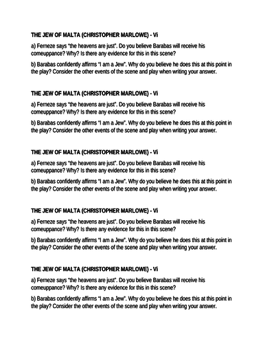 The Jew of Malta (Christopher Marlowe) - questions - Act 5, scene 1