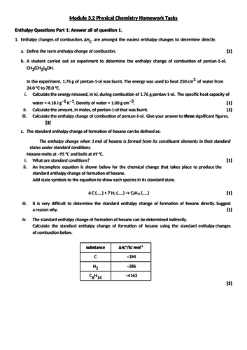 Physical Chemistry Homeworks By Leighfrancis5 Teaching Resources Tes