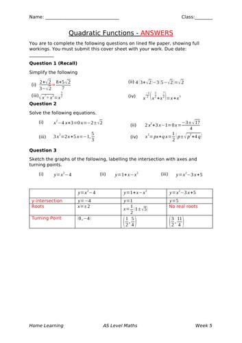 New A Level Maths Homework: Quadratic Functions