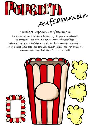 Popcorn aufsammeln - Zuordnung,Legespiel f. ALLE Fächer geeignet! DAF, Deutsch Wortschatz, German