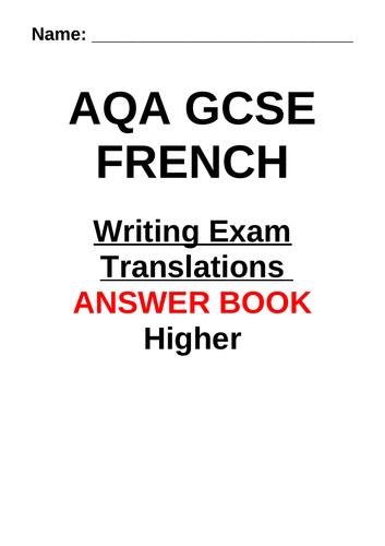 AQA GCSE French Higher English to French Translation