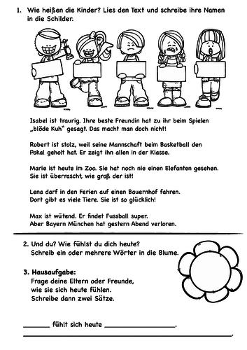 Gefühle, Feelings - Deutsch für Kinder - einfacher Lesetext mit Zuordnung, worksheet German kids
