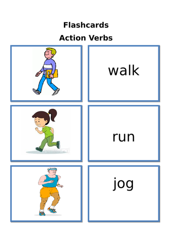 flashcards action verbs by laila masood teaching resources tes