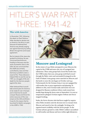 Hitler's War Part Three: 1941-42 Study Guide
