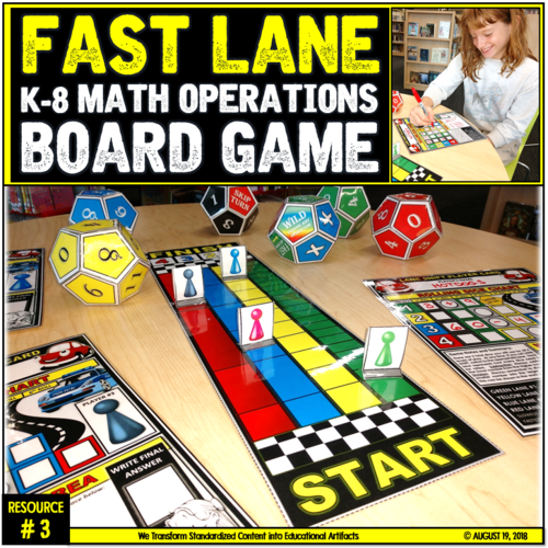 Math Operations Board Game Fast Lane Teaching Resources
