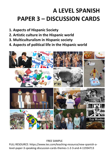 New Spanish A Level: Discussion cards (Paper 3 - Speaking)