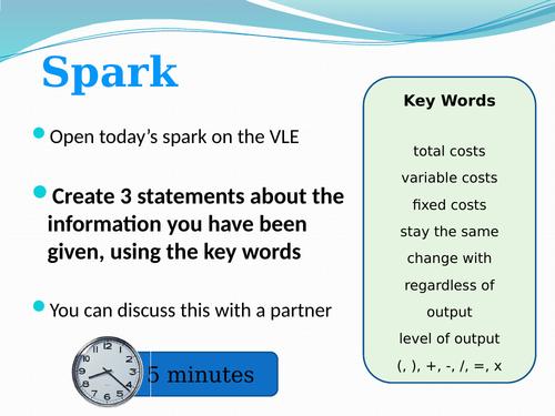 Break even GCSE Activity, worksheet and powerpoint