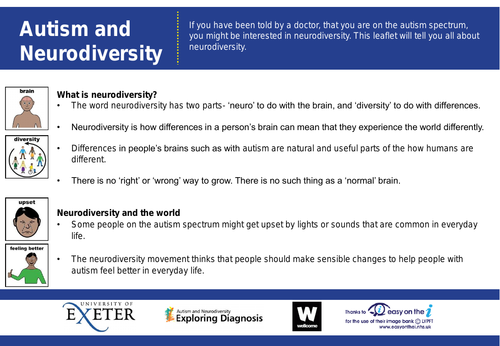 Autism and Neurodiversity- information leaflet Easy Read Version