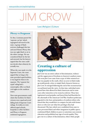 Jim Crow Study Guide
