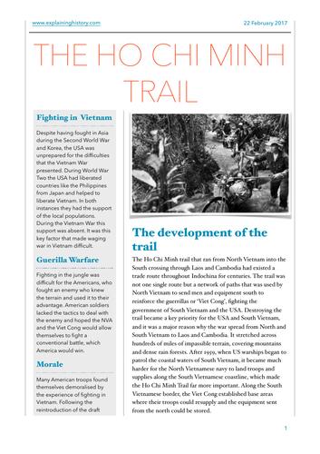 The Ho Chi Minh Trail Worksheet