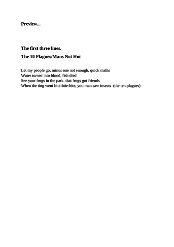 10 Plagues rap - Mans not hot reworded - Perfect for Passover/Seder assembly.