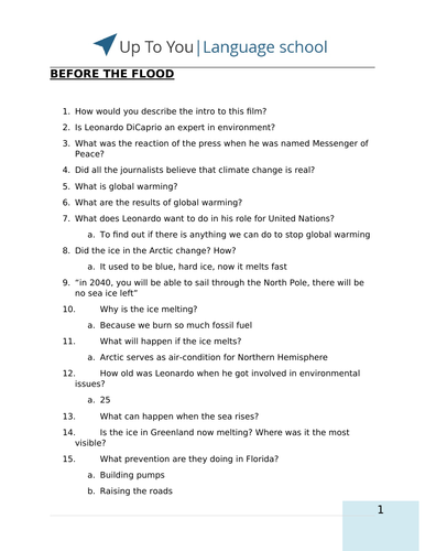 Before The Flood (movie) - 50 discussion questions