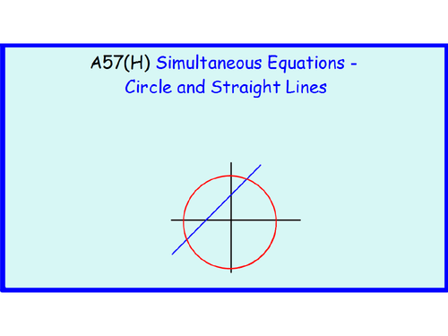 A57(H) Simultaneous Equations - Circles and Straight Lines