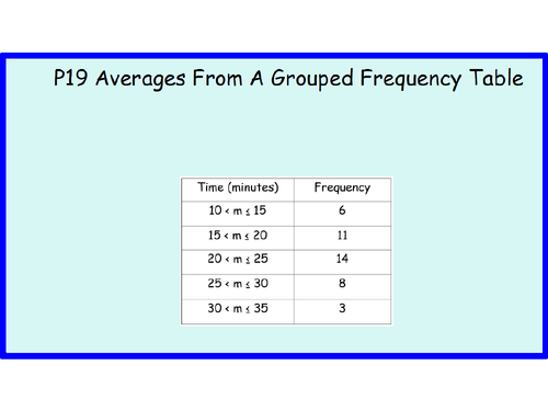 P19 Averages From A Grouped Frequency Table