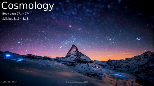 Unit 8 Lesson 5 Cosmology Edexcel IGCSE Physics 1st examination 2019