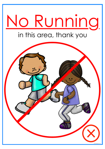 No Running:Walking Only Classroom Posters