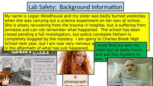 Introduction to Science at KS3 and Lab Safety - The Logan Woodhouse Case - Context Posters