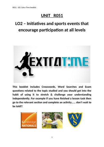 OCR National Certificate in Sports Studies R051 - L02 Extra Time booklet
