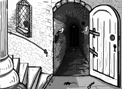 Castle Creeps - black & white sketch from imagination