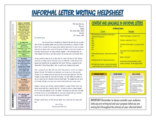 Informal Letter Writing Helpsheet!
