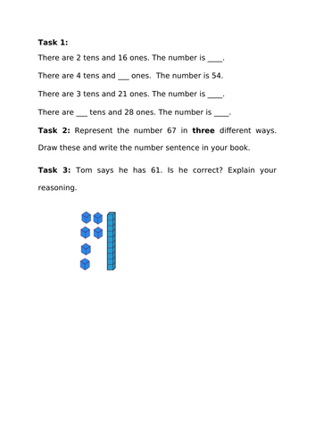 Place value partition 2 digit numbers KS1 Year 2