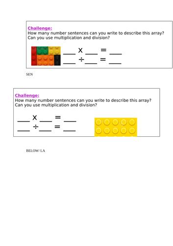 KS1 Division using lego array