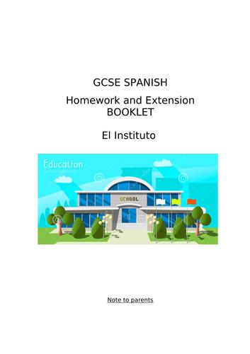 GCSE Spanish Homework or Extension Booklet on El Instituto