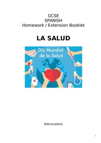 GCSE Spanish Homework or Extension Booklet on La Salud