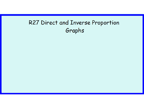 R27 Direct and Inverse Proportion Graphs