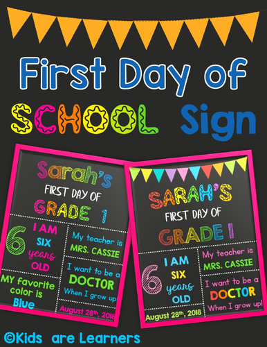 First Day Of School Signs Grade 1 Powerpoint Editable By