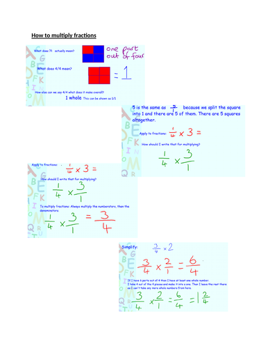 Step by Step Explanation of multiplying fractions