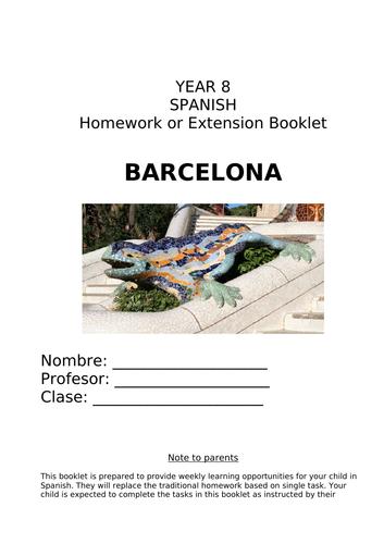 Y8 Spanish Homework or Extension Booklet on Barcelona